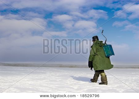 Ice fishing - very popular winter hobby in Estonia, Latvia, Lithuania, Russia etc.