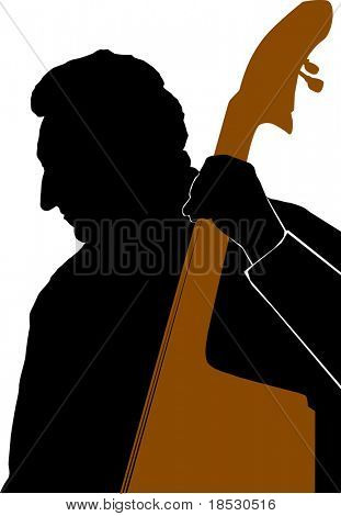 Silhouette of Man playing Double Bass or Contrabass