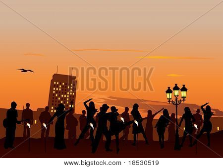 Evening Party with dancing people. Sunset sky and city in background