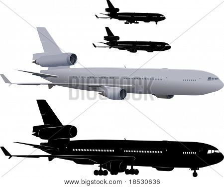 Vector illustration of three-engine passenger airliner