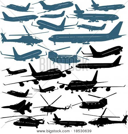 Vector illustrations of passenger airliners, military helicopters