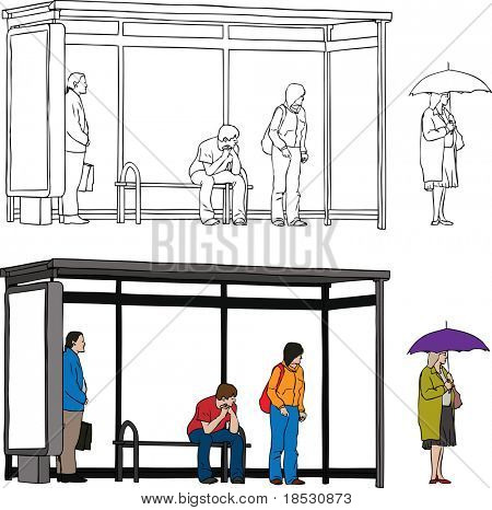 Sketch of bus stop with blank billboard and people waiting