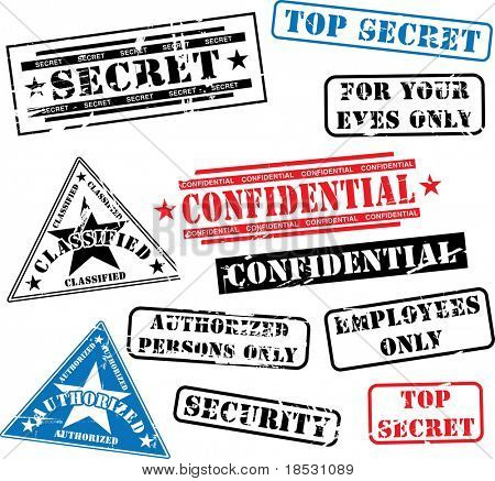 Various security rubber stamps (top secret, confidential etc.)