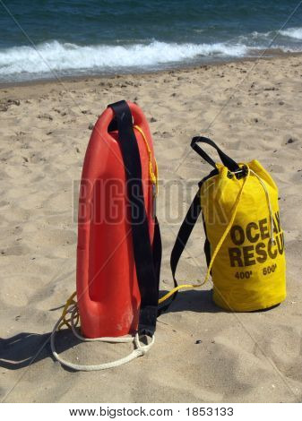 Ocean Rescue Gear Ready In Sand