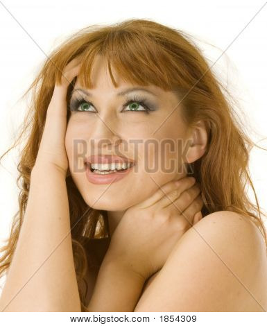 Beautiful Redheaded Woman Smiling And Looking Ecstatic