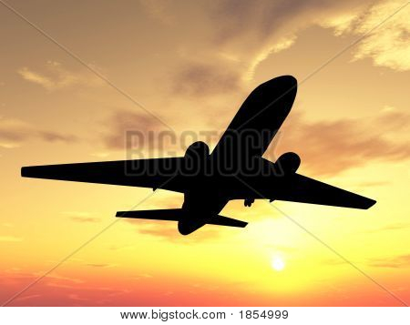 Plane Over Sunset