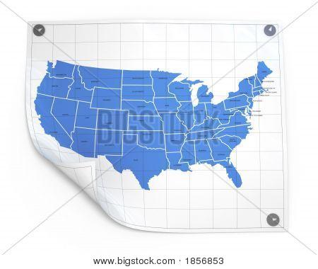 Hoja de papel con el mapa de Estados Unidos