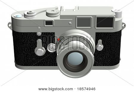 Three dimensional rendering of the front of a rangefinder camera with a 50mm lens.