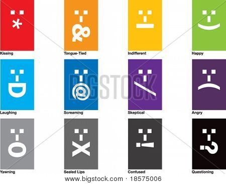 A collection of 12 emoticons, drawn in CMYK and placed on individual layers.