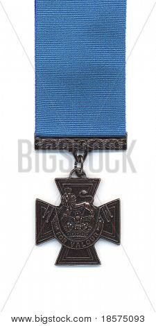 British Victoria Cross with a blue ribbon. Medals issued to the Royal Navy prior to 1918 were suspended from a blue ribbon. With the creation of the RAF crimson ribbons became standard.