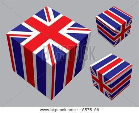 British flag extruded and mapped onto 3 cubes. CMYK on separate layers.
