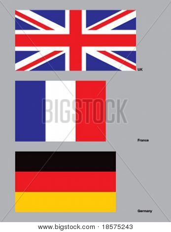 The flags of the United Kingdom, France, and Germany. Drawn in CMYK and placed on individual layers.