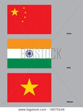 The flags of China, India, and Vietnam. Drawn in CMYK and placed on individual layers.