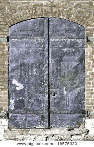 Steel doors on an old warehouse.