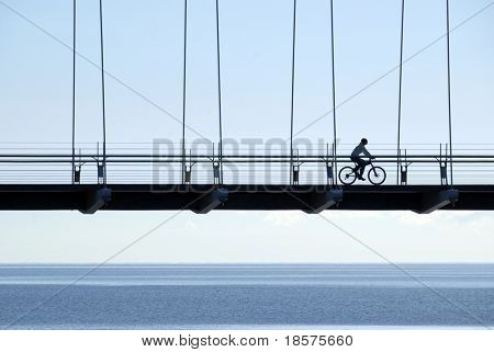 A woman riding a mountain bike across a suspension bridge near Lake Ontario, just after dawn.