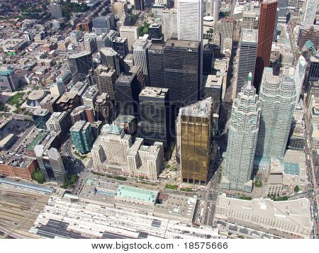 The downtown Toronto core seen from above Union Station on Front Street.