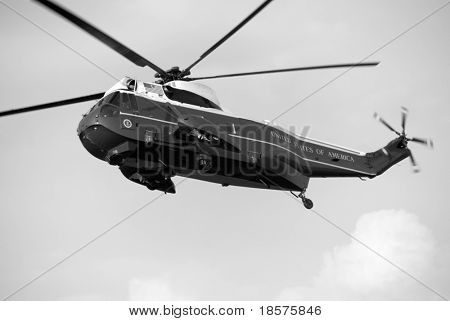 The Sikorsky VH-3D (Sea King) is the primary presidential helicopter. The VH-3D designation is specific to US Marine Corps VIP transport helicopters.