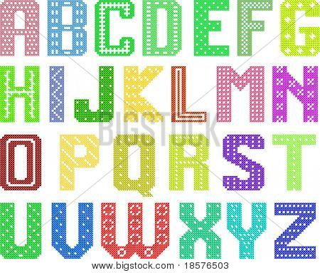 color latin alphabet by cross pattern for handwork