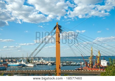 port in Odessa with suspended road. South Ukraine