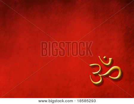 Buddha concept - golden OM sign on red background