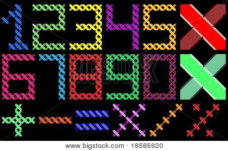 color digits by cross pattern for handwork