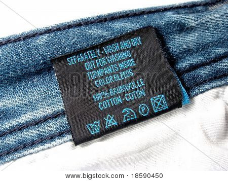 Label for wash on the jeans pants