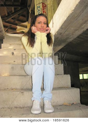 Conceived girl on the stairs