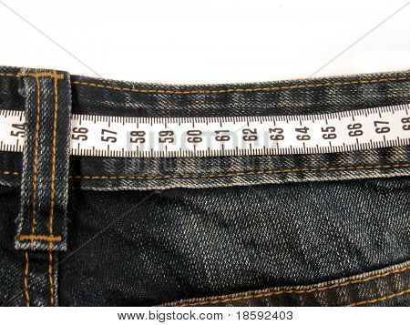 Centimeter on the jeans pants - ideal waist 60cm concept