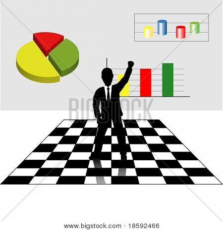 Success businessman with fist raised up in the air, standing on chessboard