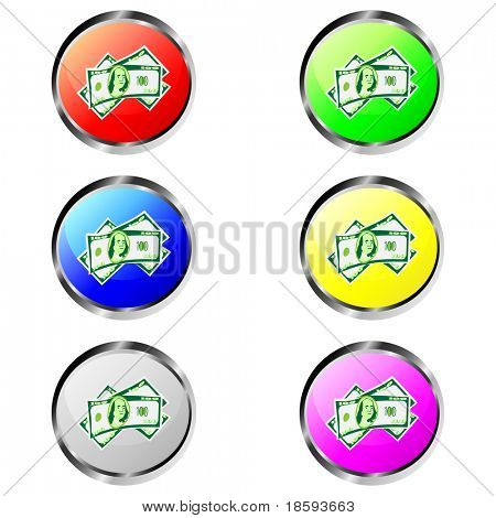 Colorful money vector buttons