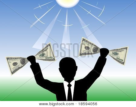 Businessman holding 100 dollar banknotes