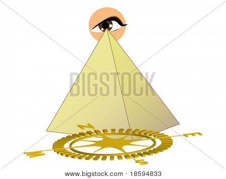 Pyramid, eye and compass