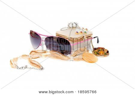 Necklace, sunglasses and box for jewellry isolated on white