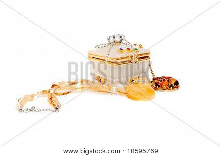 Necklace and box for jewellry isolated on white