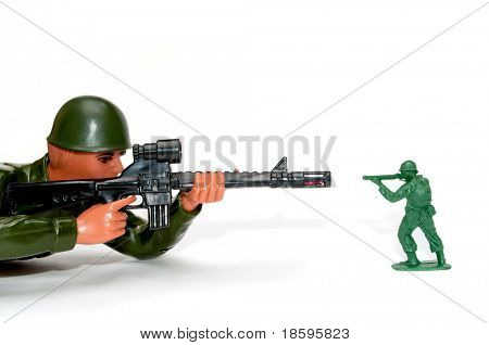 Battle of big and small (David against Goliath), two toy soldier isolated on white