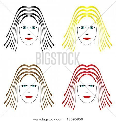 Four female face with different hair color