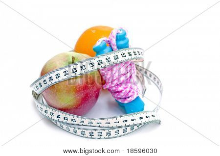 Jump rope, apple orange  and centimeter (show 60, ideal measure for waist)