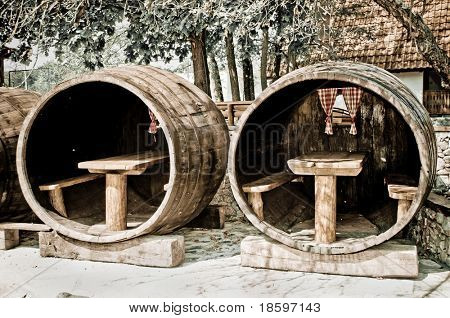 Barrel for guests in ethnic restaurant