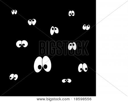 Cartoon eyes in the dark