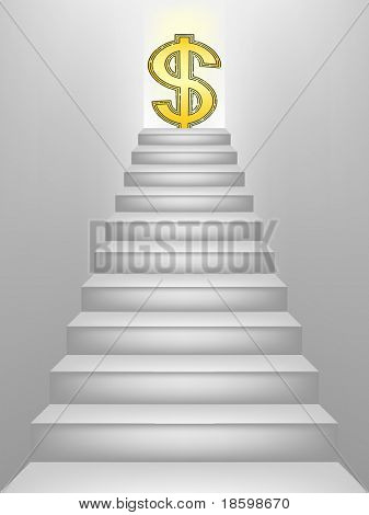 Dollar sign on the top of the stairs