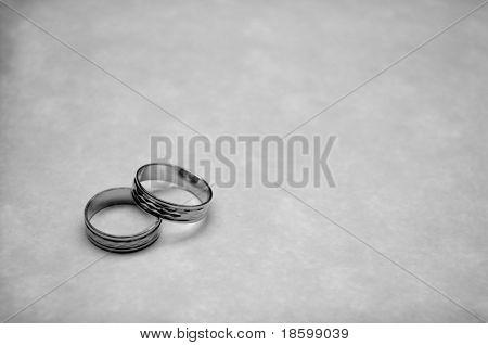 Two wedding rings - b-w image