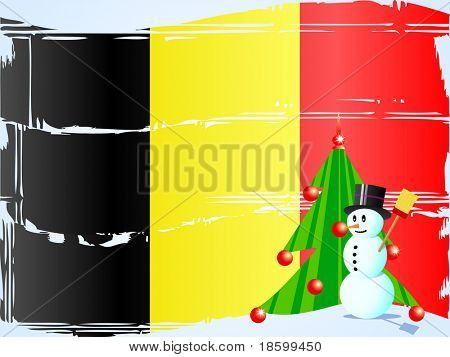 Snowman and tree on the Belgian flag