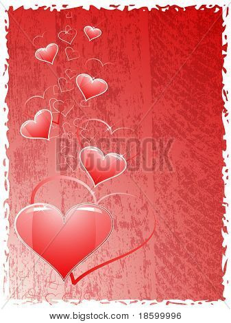 Hearts on the red splotchy background