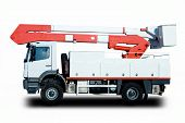 stock photo of cherry-picker  - Bucket Truck to repair electrical lines after a hurricane - JPG