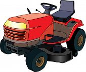 Vector illustration of red lawn mower machine