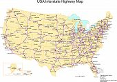 foto of usa map  - USA 50 States Illustrator eps map includes Interstate Highways with major cites editable states and text names color - JPG