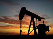 stock photo of oil rig  - Oil pump over orange sky background 3d montage - JPG
