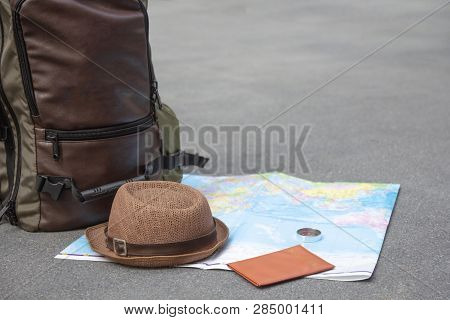 poster of Travel Backpack Accessories Essentials Preparation, Flat Lay, Mock Up. Idea For Tourism With Passpor