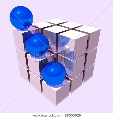 Silver Cube with Blue Balls