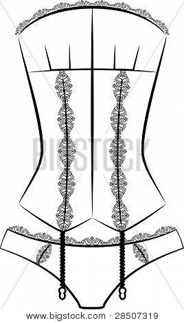 Vintage corset with beautiful ornament